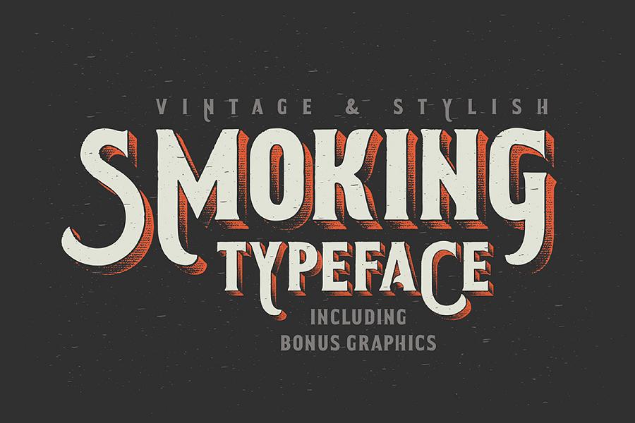 Smoking Typeface + Illustration Font
