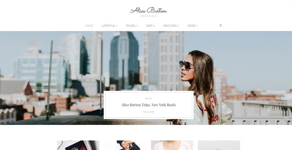 AliceBurton - Personal Blog Elementor WordPress Theme