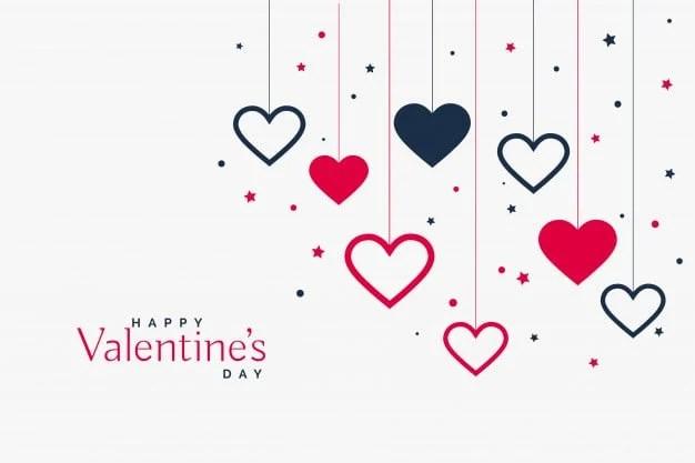 stylish hanging hearts background valentines day