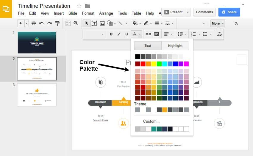 timeline color palette