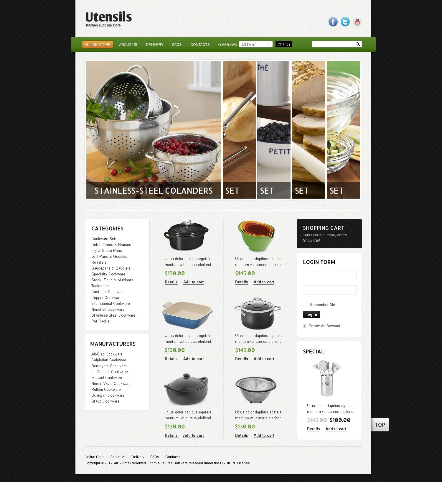 Kitchen Utensils VirtueMart Template 39084
