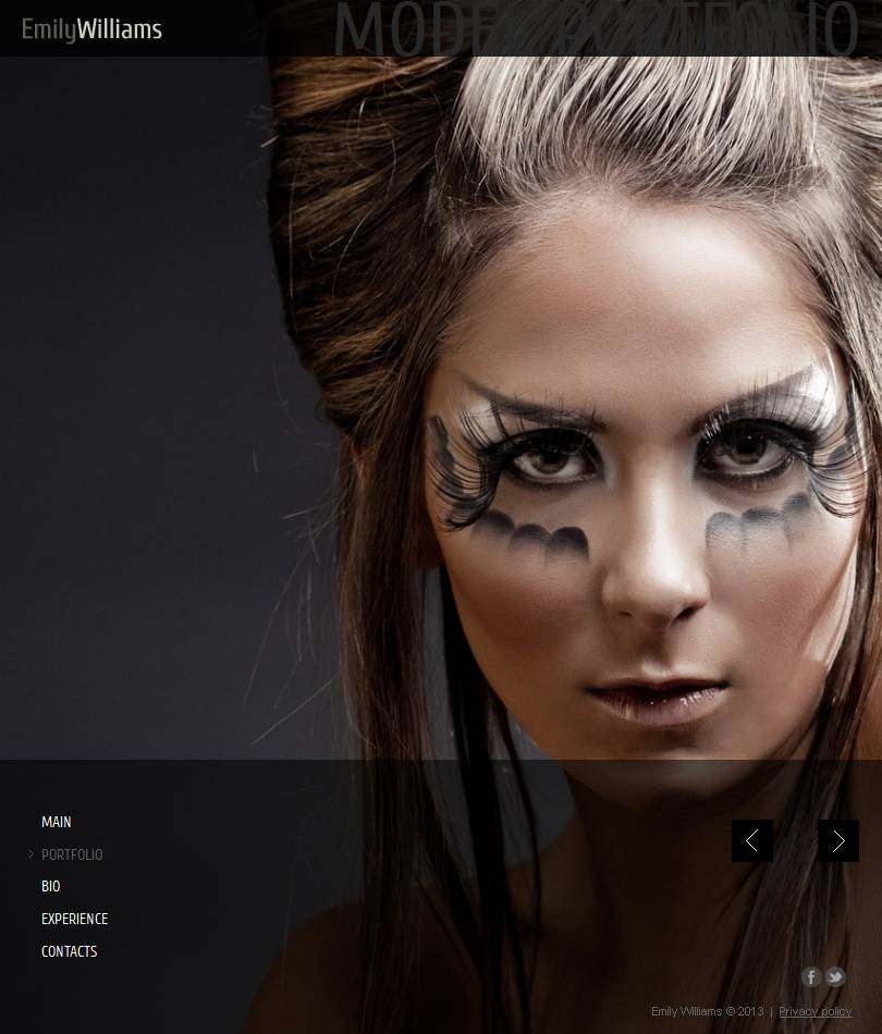 Model Portfolio Facebook HTML CMS Template 46604