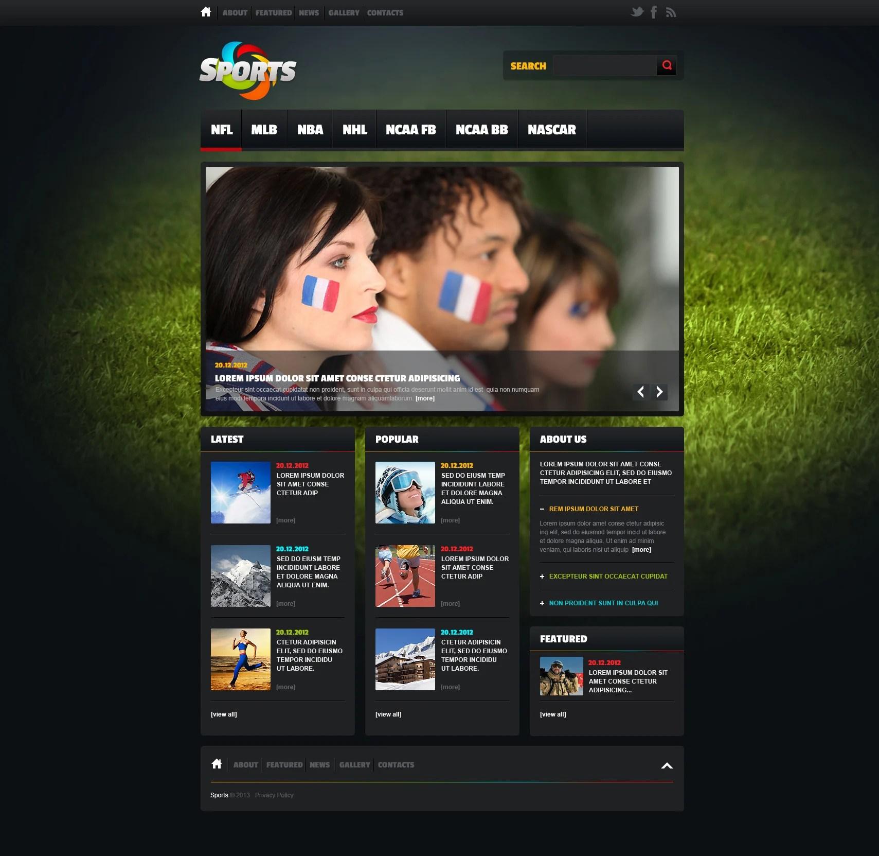 Sports News Website Template 46919