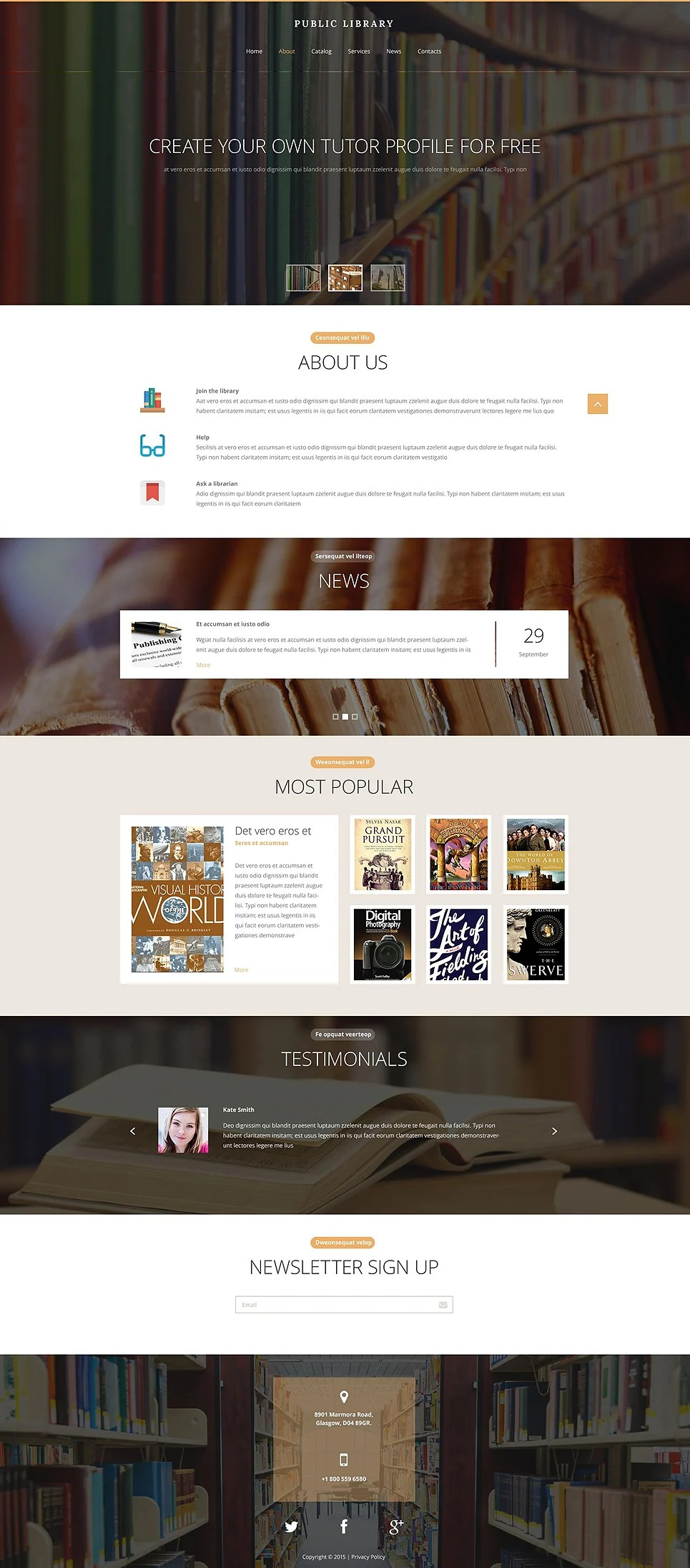 Public Library Website Template