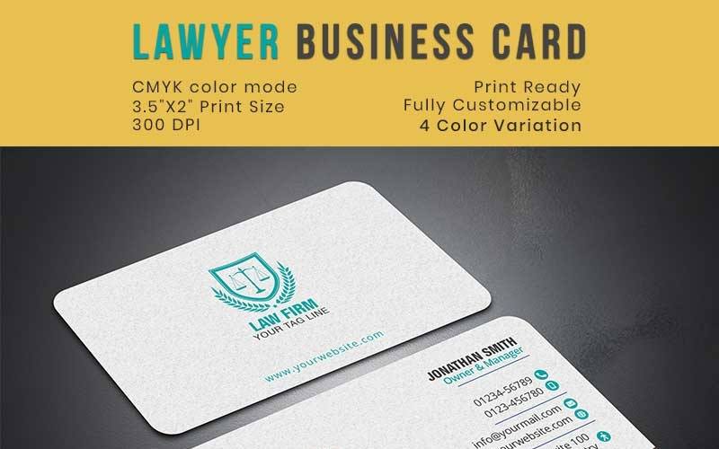 These downloadable and free business card templates have everything you need in style, shape, and size so you can make a great impression. Lawyer Attorney Consultancy Business Card Corporate Identity Template
