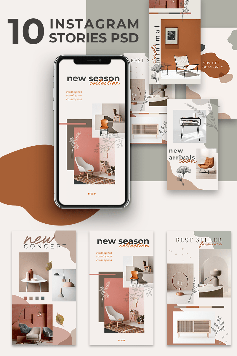 Creative Brown Instagram Stories PSD Template