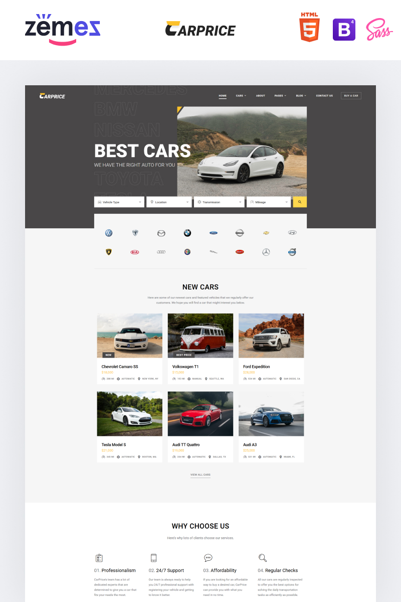 These car website templates can be used in various purposes like spare parts shops, auto tuning, car clean service, car dealership, car repair,. Carprice Automobile Dealership Website Website Templates