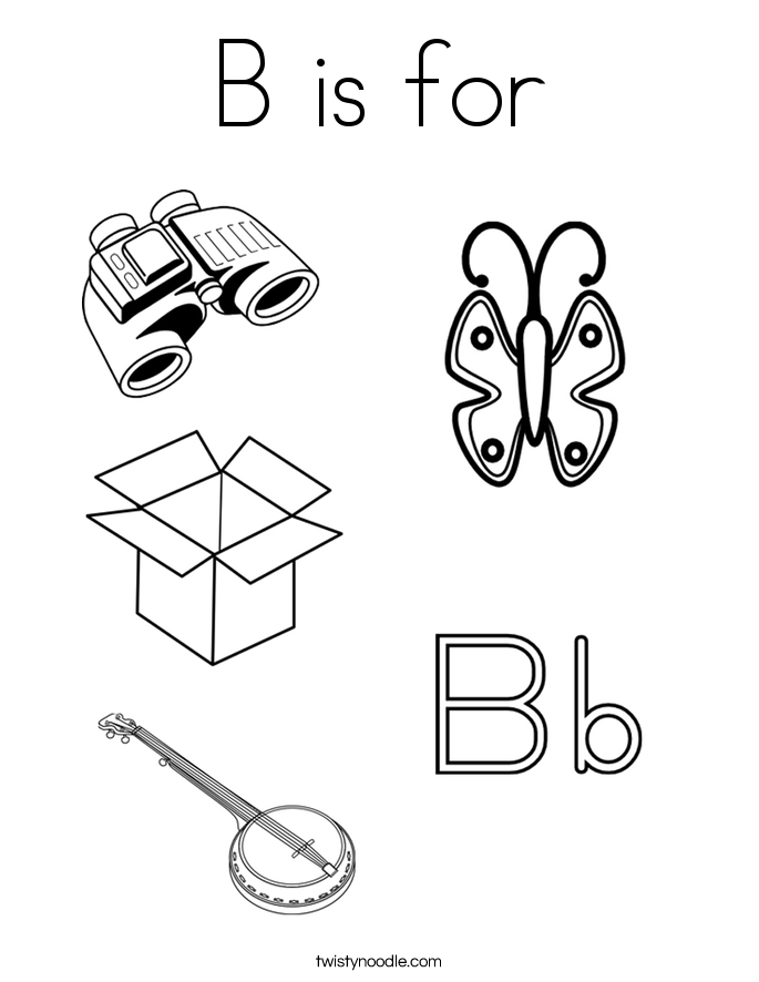b is for coloring page  twisty noodle