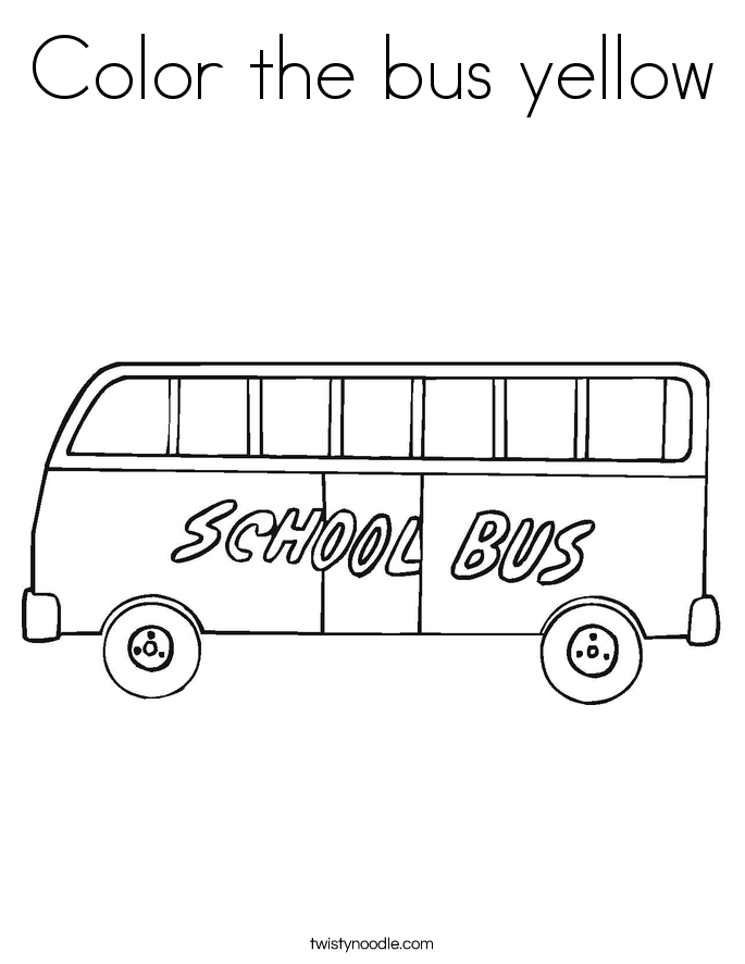 color the bus yellow coloring page  twisty noodle