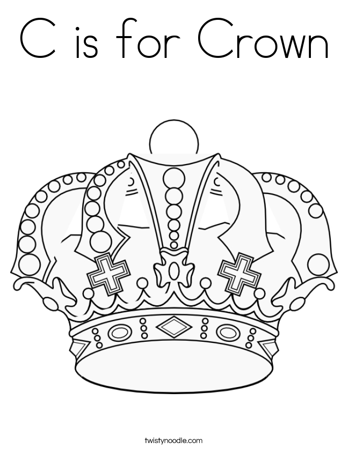 c is for crown coloring page  twisty noodle