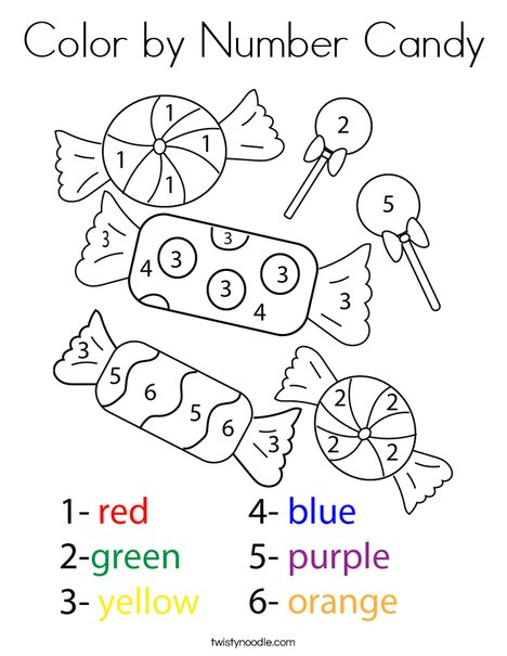 Color By Number Candy Coloring Page Twisty Noodle