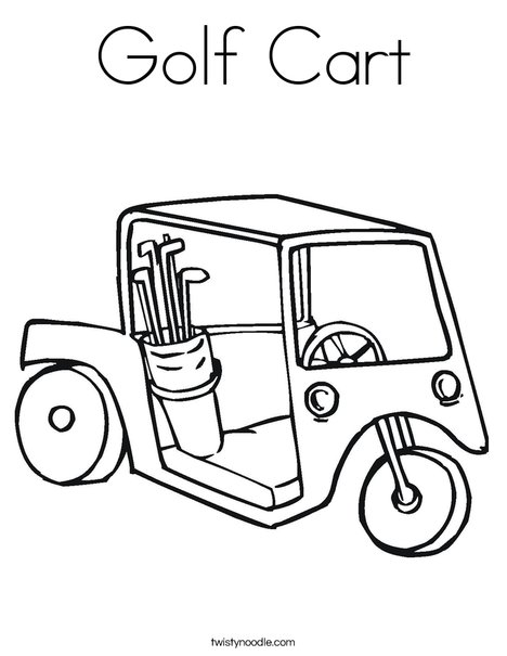 Golf Cart Coloring Page Twisty Noodle