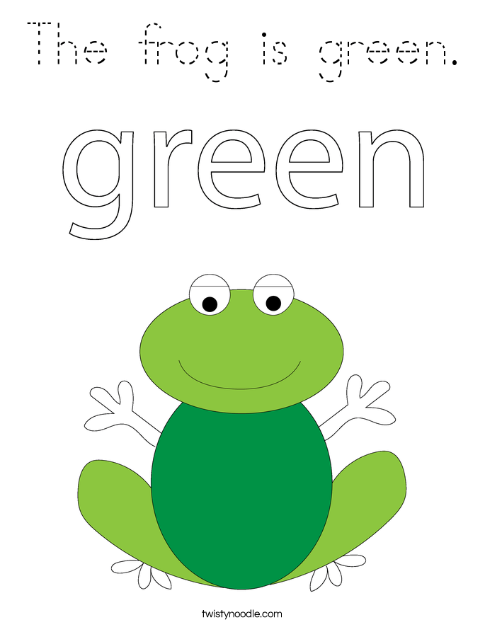 the frog is green coloring page  tracing  twisty noodle
