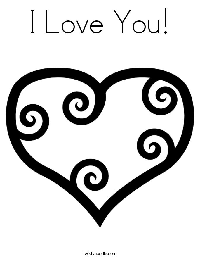 I love you coloring page twisty noodle, coloring pages say i love you