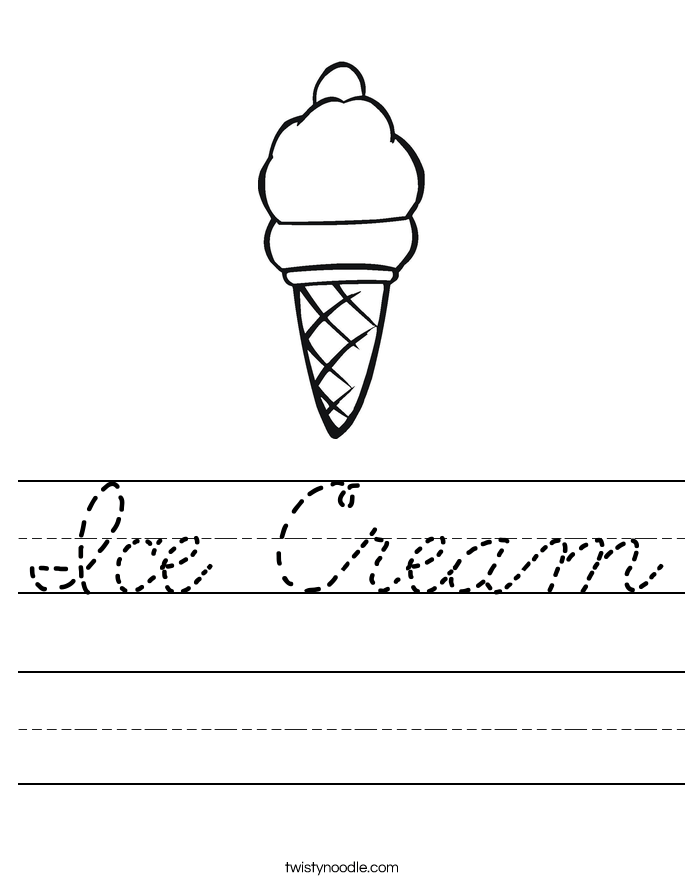 Ice Cream Worksheet Cursive Twisty Noodle