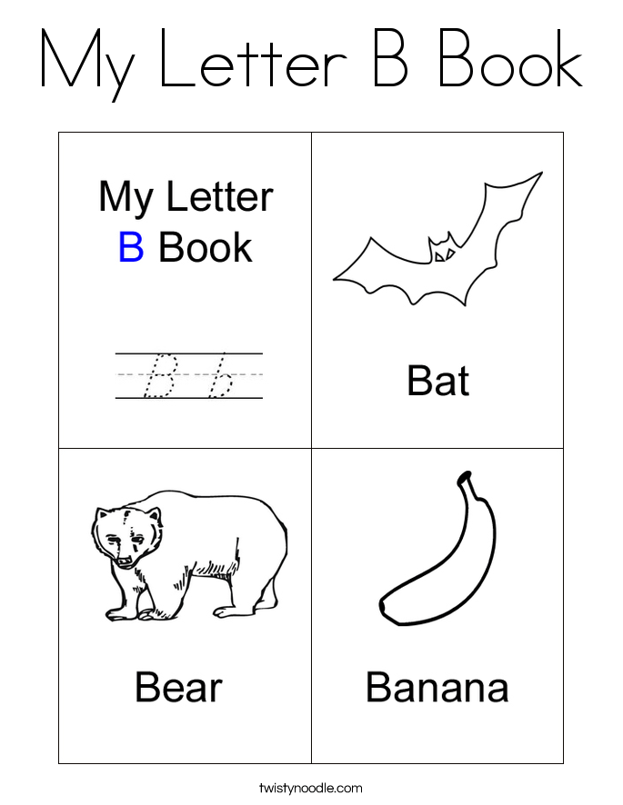 my letter b book coloring page  twisty noodle