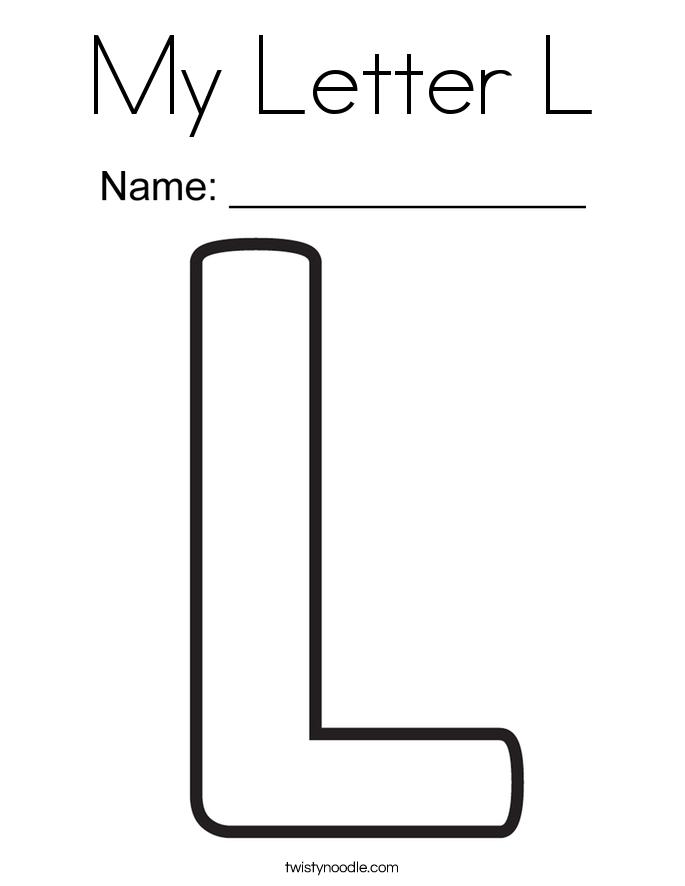 My Letter L Coloring Page Twisty Noodle