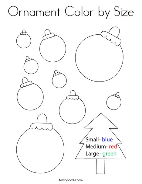 Ornament Color By Size Coloring Page Twisty Noodle