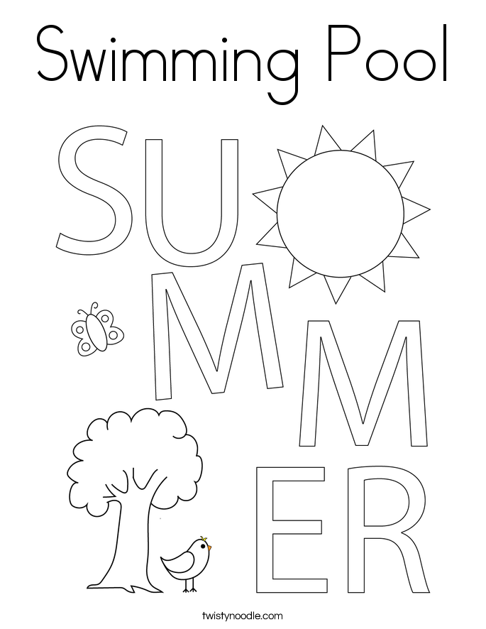 swimming pool coloring page  twisty noodle
