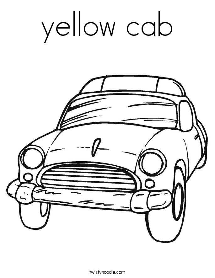 yellow cab coloring page  twisty noodle