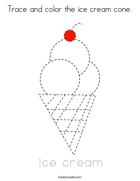 Trace And Color The Ice Cream Cone Coloring Page Twisty Noodle