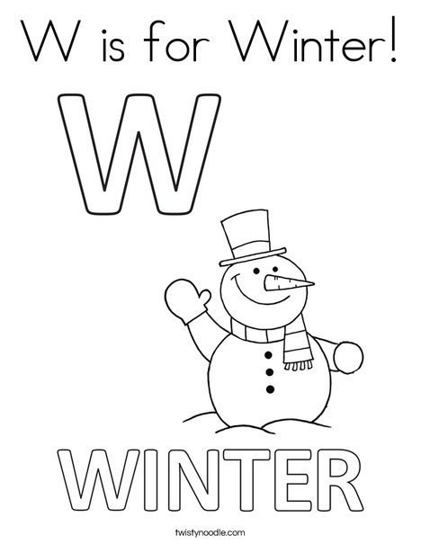 W Is For Winter Coloring Page Twisty Noodle