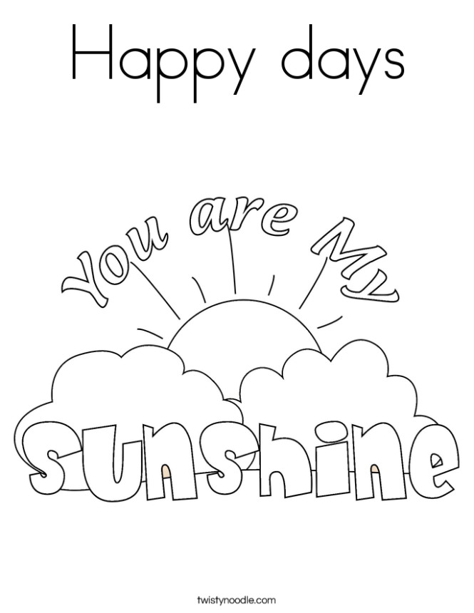 You Are My Sunshine Coloring Pages | Coloring Page for kids