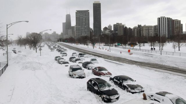Gebhard Woods State Park, on the Illinois River near Morris, had 41 inches of snow cover on Jan. 31, 1979. Astoria, in western Illinois, also had 41 inches on Feb. 28, 1900. Image: Cars stranded on Lake Shore Drive in Chicago on Feb. 2, 2011, after a blizzard. (Getty Images/Scott Olson)