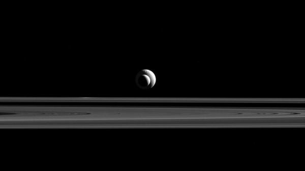 Two Saturn Moons Form Perfect Line, As Seen By Cassini ...