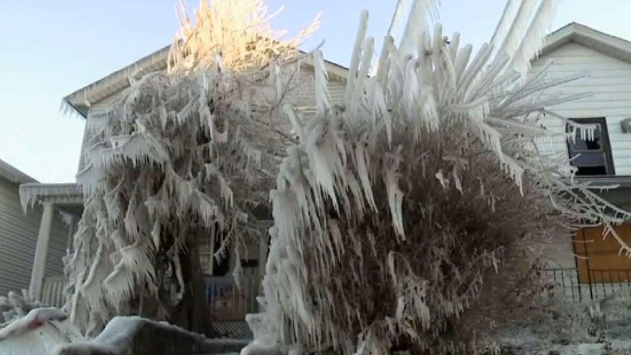 Water Main Break Ices Scranton Pennsylvania Neighborhood