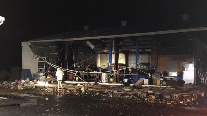 Damage is seen to a structure in Cairo, Georgia, on Sunday, March 3, 2019. (Twitter/Eli Pyrz)