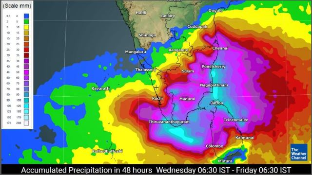 Rainfall accumulation forecast from Wednesday to Friday (TWC Met Team)
