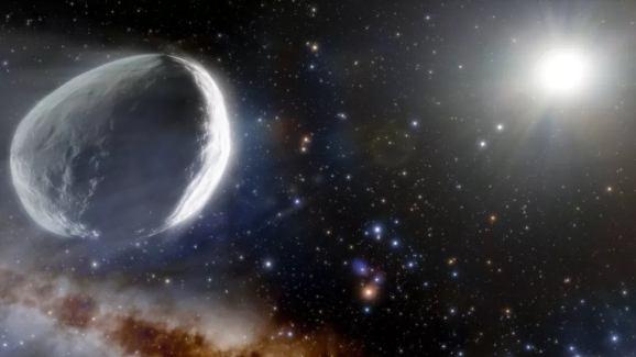 An artist's depiction of Comet Bernardinelli-Bernstein plowing through the solar system. (NOIRLab/NSF/AURA/J. da Silva (Spaceengine))