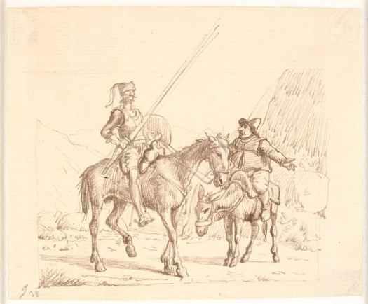 Старинный карандашный рисунок Дон Кихота и Санчо Пансы сидящих на лошадях. Вильгельм Марcтранд.