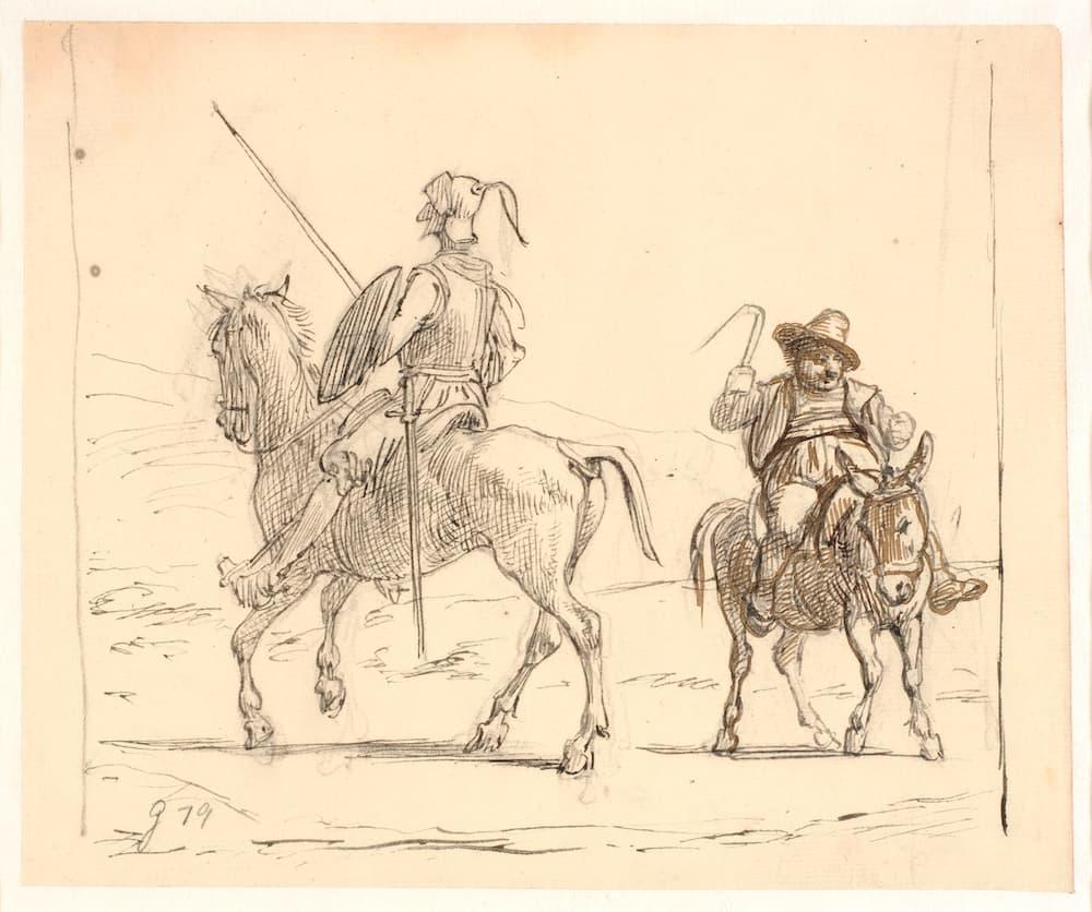 Un vieux dessin au crayon de Don Quichotte et Sancho Panza assis sur leurs chevaux, par Wilhelm Marstrand.