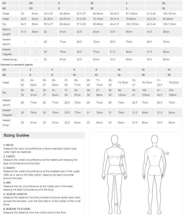 sizing charts the north face - 766×910