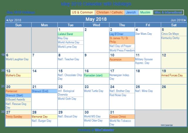 Calendar Labs May : May calendar with holidays free download
