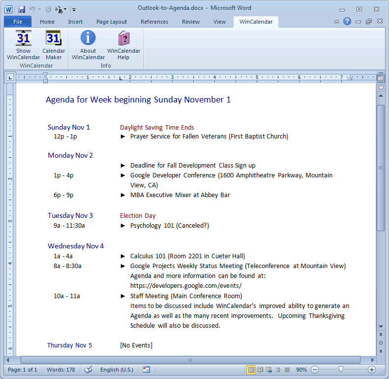 meeting invite template outlook