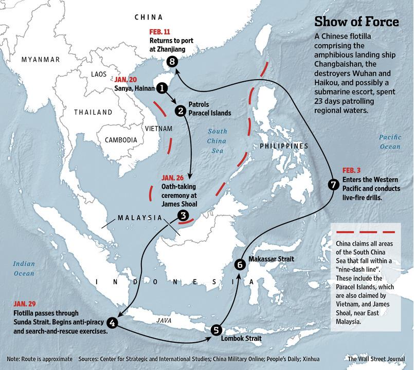 Chinese Naval Patrol Prompts Conflicting Regional Response - WSJ