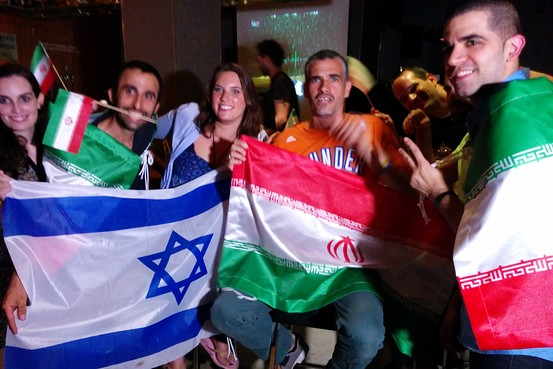 Ronny Edry and Iranian Jewish Iran fans in Tel Aviv cheering for the Iranian team