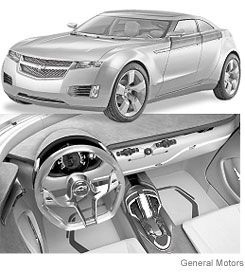 [Views of the Chevrolet Volt plug-in concept car from General Motors.]