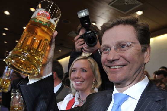 FDP leader Guido Westerwelle, who hopefully didnt drink it all in one go