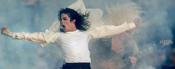 [Michael Jackson performs at the Super Bowl XXVII during the halftime show, on January 31, 1993.]