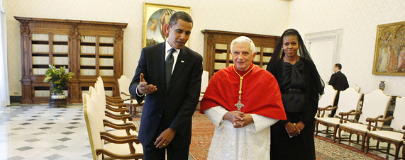 [President Barack Obama and first lady Michelle Obama meet with Pope Benedict XVI on Friday.]