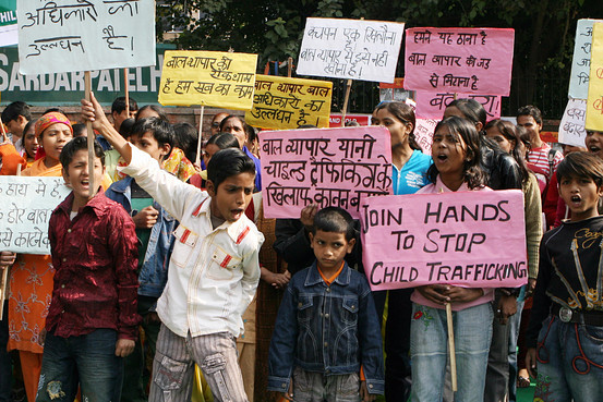 Raveendran/Agence France-Presse/Getty Images In this Dec. 2008 picture, children protest in New Delhi on the Global Day against child trafficking.