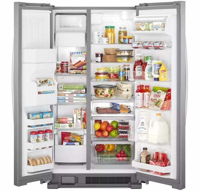 Wrs325sdhz Whirlpool 36 24 6 Cu Ft Capacity Side By Side Refrigerator With Led Lighting And Built