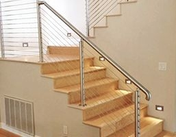 Stair Railing Ideas | Cable Stair Railing Indoor | Exterior Irregular Stair | Vertical | Wood | 90 Degree Stair | Stainless