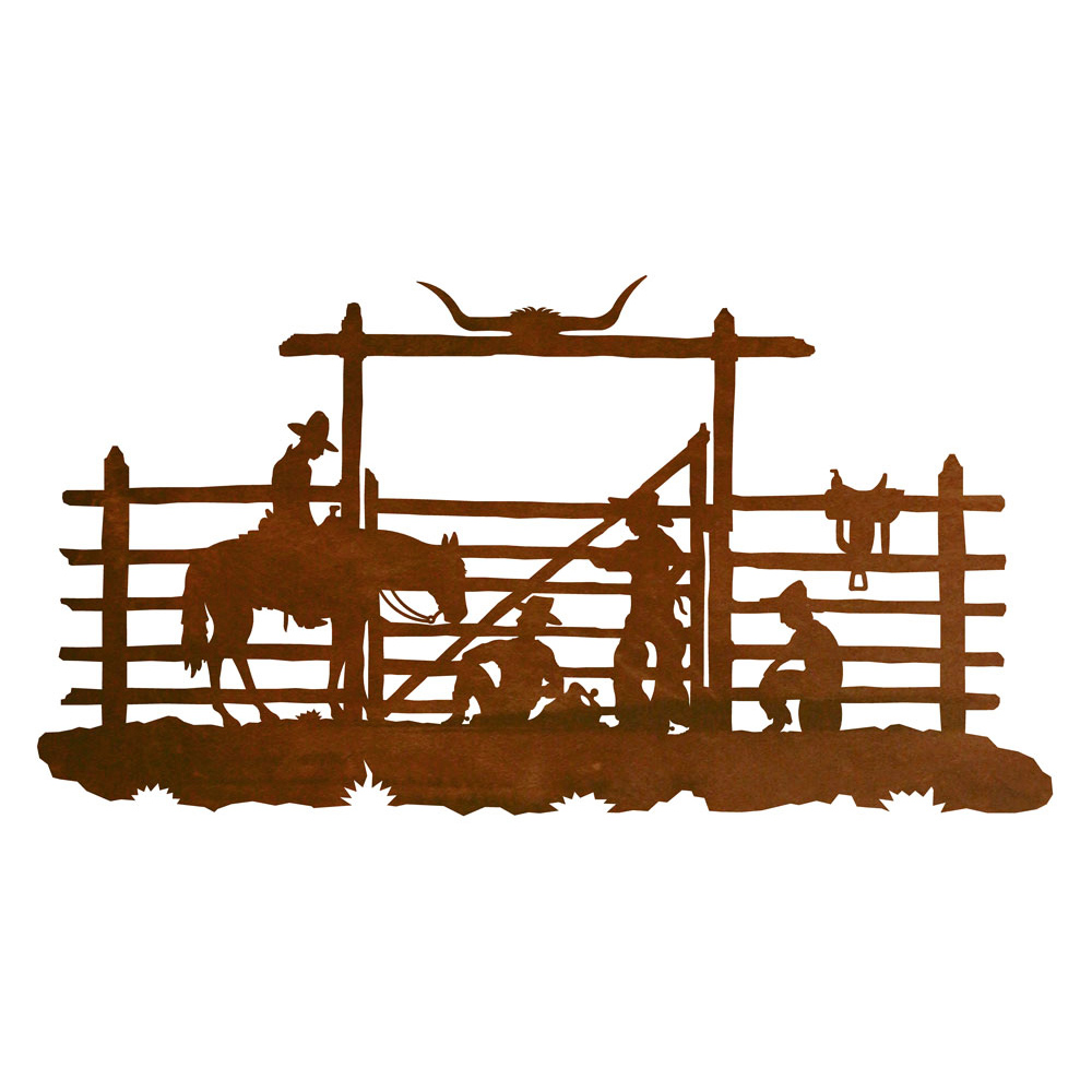 Black and White Art Print of Wooden Horse or Livestock Corral and