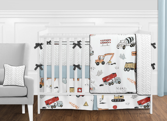 Construction Truck Baby Boy Nursery Crib Bedding Set With Bumper By Sweet Jojo Designs 9 Pieces Grey Yellow Orange Red And Blue Transportation Chevron Arrow Only 189 99