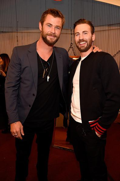 Chris Hemsworth and Chris Evans unite backstage